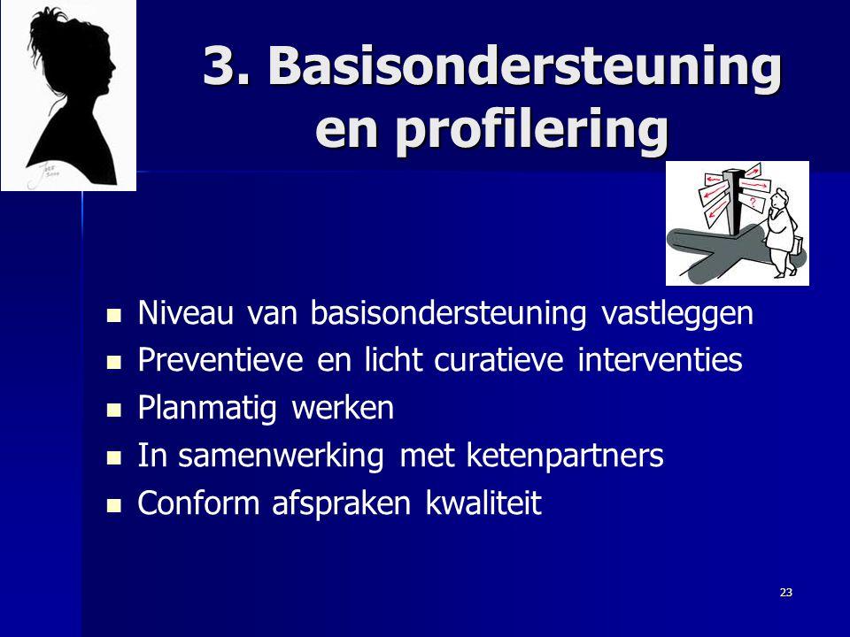 3. Basisondersteuning en profilering Niveau van basisondersteuning vastleggen Preventieve en licht curatieve interventies Planmatig werken In samenwer