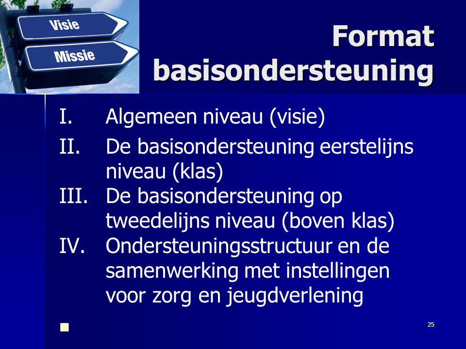 Format basisondersteuning I.Algemeen niveau (visie) II.De basisondersteuning eerstelijns niveau (klas) III.De basisondersteuning op tweedelijns niveau
