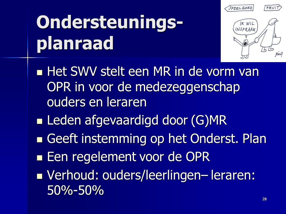 Ondersteunings- planraad Het SWV stelt een MR in de vorm van OPR in voor de medezeggenschap ouders en leraren Het SWV stelt een MR in de vorm van OPR
