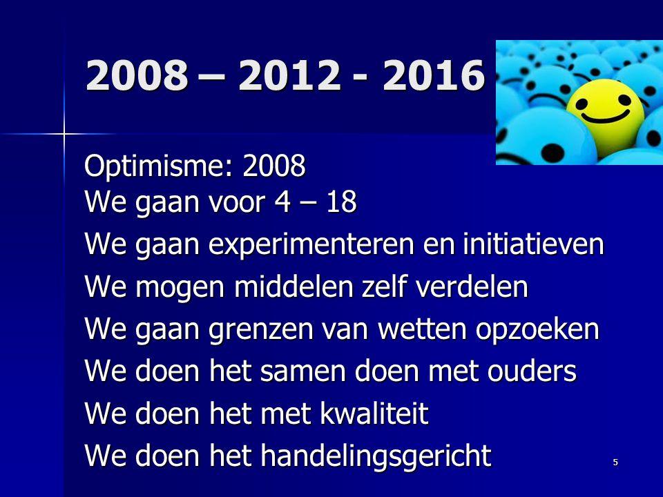 2008 – 2012 - 2016 Optimisme: 2008 We gaan voor 4 – 18 We gaan experimenteren en initiatieven We mogen middelen zelf verdelen We gaan grenzen van wett