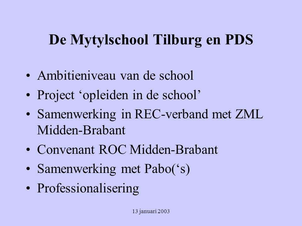 13 januari 2003 De Mytylschool Tilburg en PDS Ambitieniveau van de school Project 'opleiden in de school' Samenwerking in REC-verband met ZML Midden-Brabant Convenant ROC Midden-Brabant Samenwerking met Pabo('s) Professionalisering