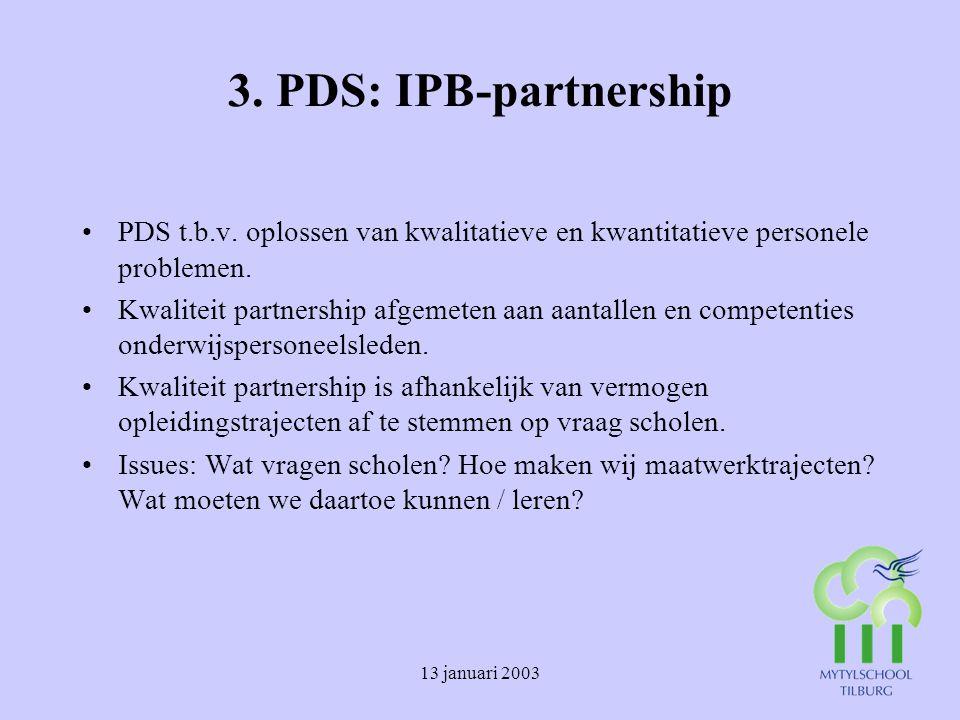 13 januari 2003 3.PDS: IPB-partnership PDS t.b.v.