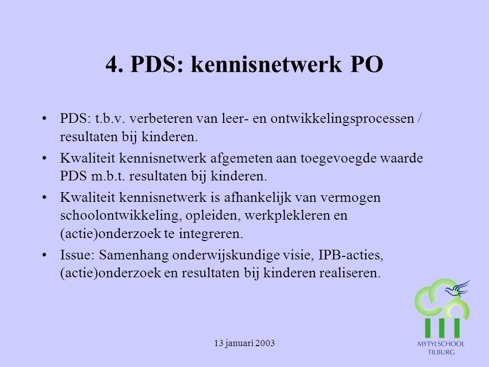 13 januari 2003 4.PDS: kennisnetwerk PO PDS: t.b.v.