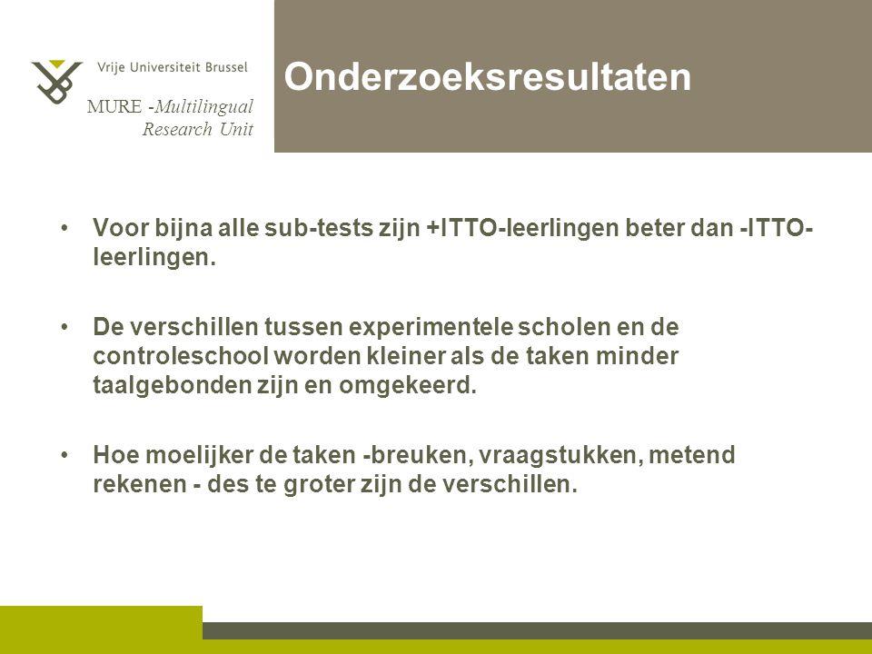 MURE -Multilingual Research Unit Onderzoeksresultaten Voor bijna alle sub-tests zijn +ITTO-leerlingen beter dan -ITTO- leerlingen.