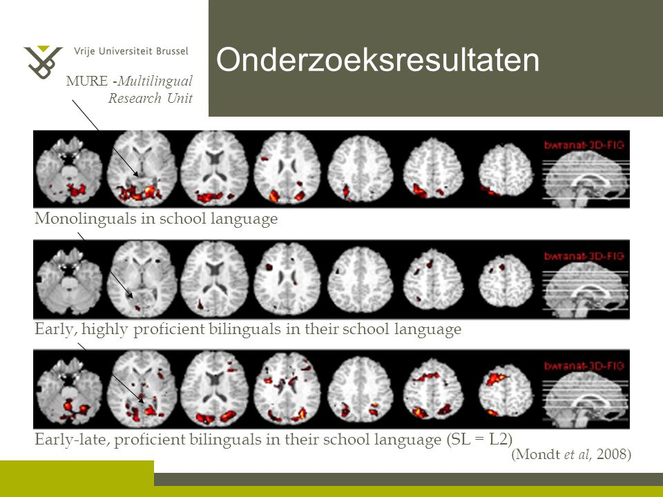 MURE -Multilingual Research Unit Onderzoeksresultaten Early, highly proficient bilinguals in their school language Monolinguals in school language Early-late, proficient bilinguals in their school language (SL = L2) (Mondt et al, 2008)
