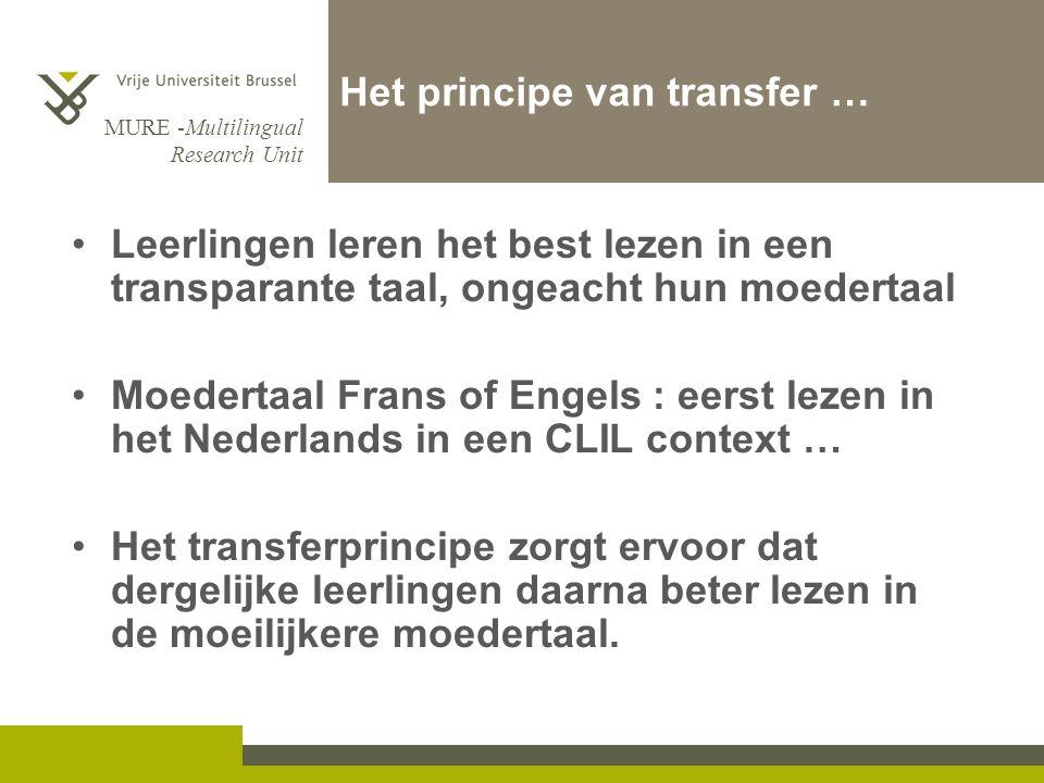 MURE -Multilingual Research Unit Het principe van transfer … Leerlingen leren het best lezen in een transparante taal, ongeacht hun moedertaal Moedert