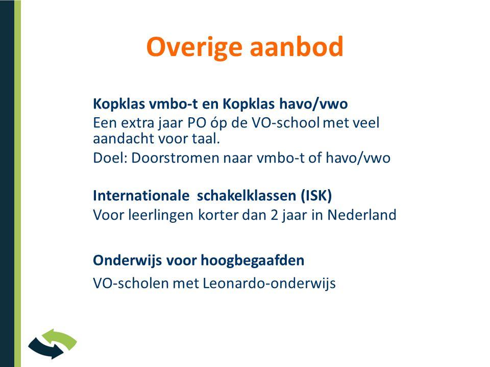 Overige aanbod Kopklas vmbo-t en Kopklas havo/vwo Een extra jaar PO óp de VO-school met veel aandacht voor taal.