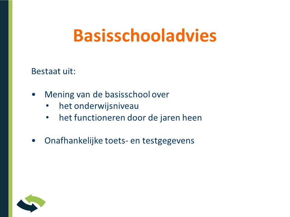 Basisschooladvies Bestaat uit: Mening van de basisschool over het onderwijsniveau het functioneren door de jaren heen Onafhankelijke toets- en testgegevens