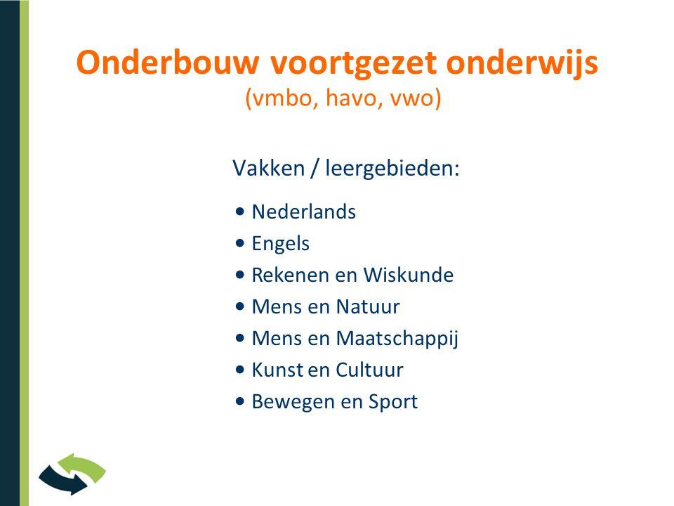 Onderbouw voortgezet onderwijs Vakken / leergebieden: Nederlands Engels Rekenen en Wiskunde Mens en Natuur Mens en Maatschappij Kunst en Cultuur Bewegen en Sport (vmbo, havo, vwo)