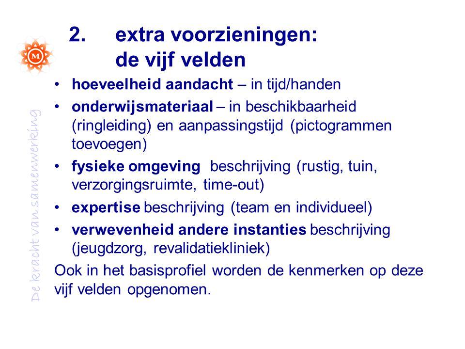 De kracht van samenwerking 2. extra voorzieningen: de vijf velden hoeveelheid aandacht – in tijd/handen onderwijsmateriaal – in beschikbaarheid (ringl