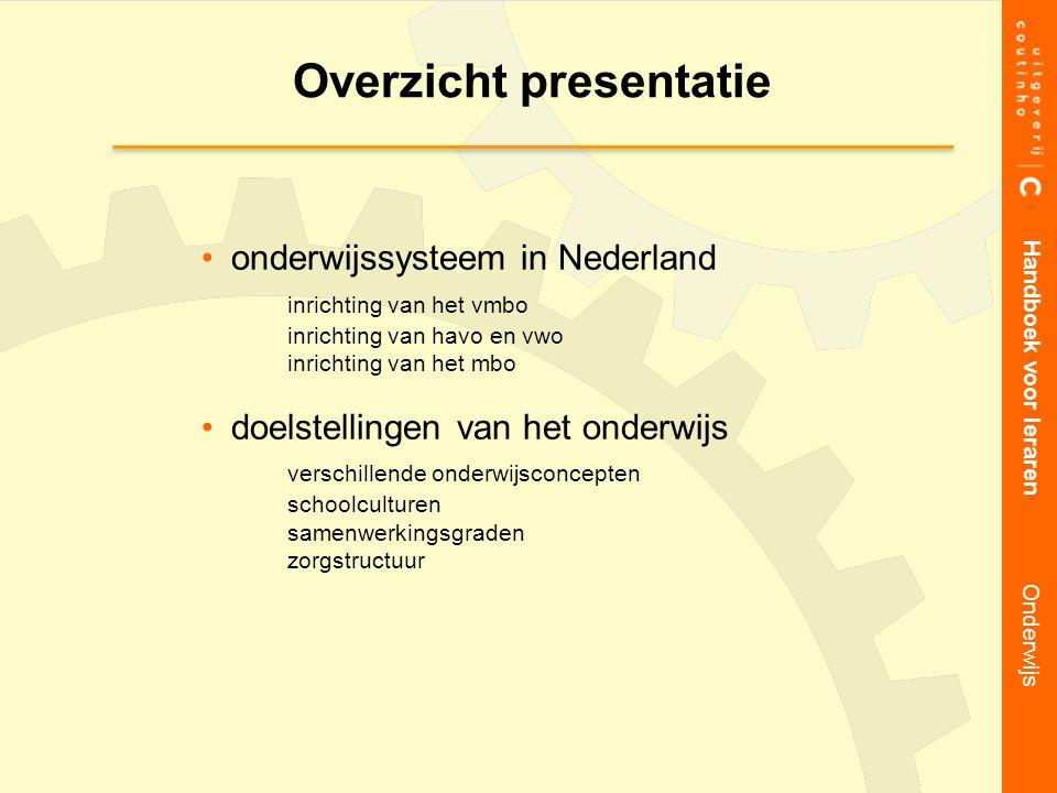 Overzicht presentatie Handboek voor leraren Onderwijs onderwijssysteem in Nederland inrichting van het vmbo inrichting van havo en vwo inrichting van