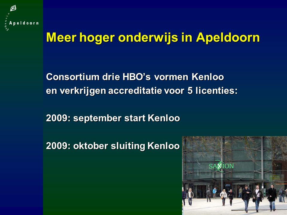 Meer hoger onderwijs in Apeldoorn Consortium drie HBO's vormen Kenloo en verkrijgen accreditatie voor 5 licenties: 2009: september start Kenloo 2009: oktober sluiting Kenloo