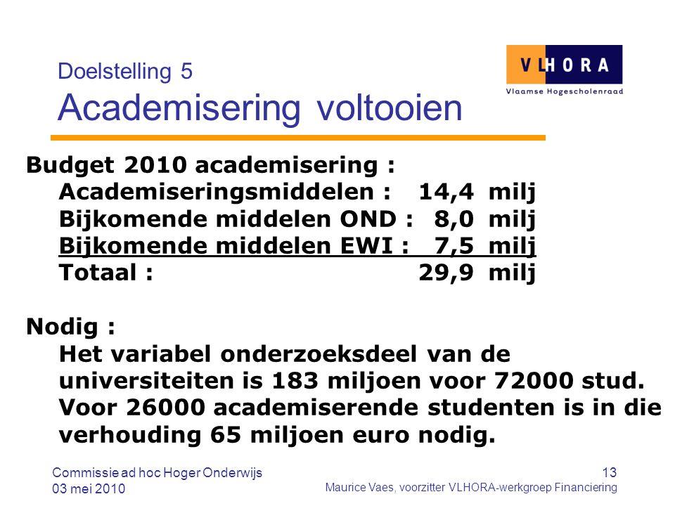 13 Maurice Vaes, voorzitter VLHORA-werkgroep Financiering Doelstelling 5 Academisering voltooien Budget 2010 academisering : Academiseringsmiddelen :14,4milj Bijkomende middelen OND :8,0milj Bijkomende middelen EWI :7,5milj Totaal :29,9milj Nodig : Het variabel onderzoeksdeel van de universiteiten is 183 miljoen voor 72000 stud.