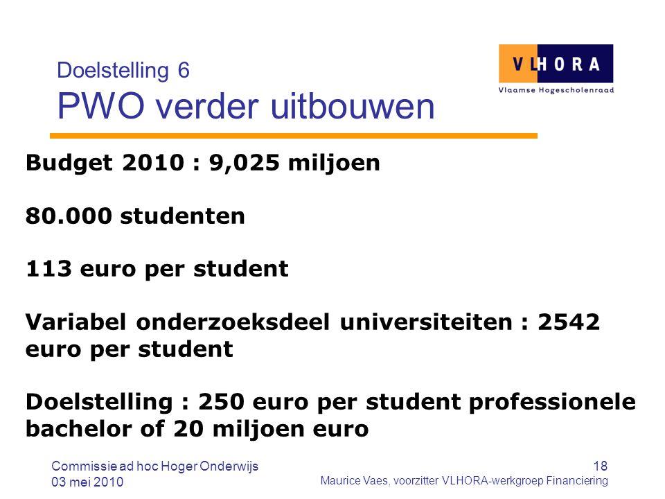 18 Maurice Vaes, voorzitter VLHORA-werkgroep Financiering Doelstelling 6 PWO verder uitbouwen Commissie ad hoc Hoger Onderwijs 03 mei 2010 Budget 2010