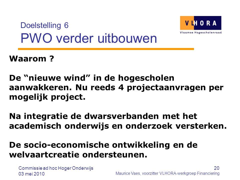 20 Maurice Vaes, voorzitter VLHORA-werkgroep Financiering Doelstelling 6 PWO verder uitbouwen Commissie ad hoc Hoger Onderwijs 03 mei 2010 Waarom .