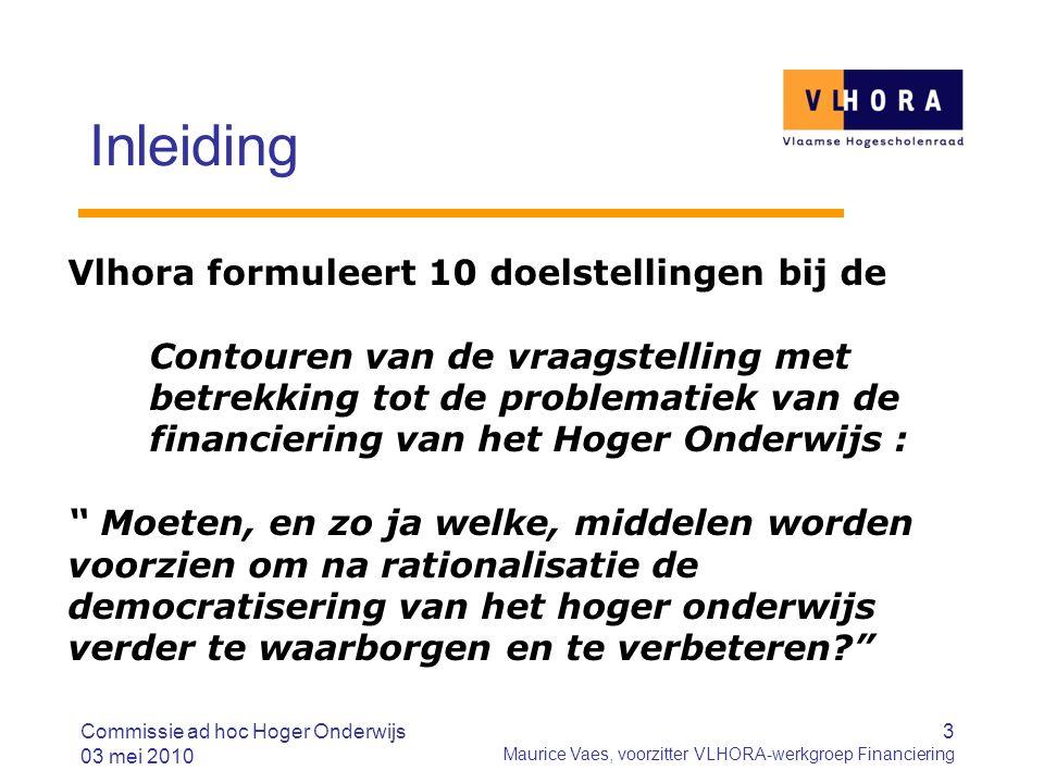 3 Maurice Vaes, voorzitter VLHORA-werkgroep Financiering Inleiding Vlhora formuleert 10 doelstellingen bij de Contouren van de vraagstelling met betre