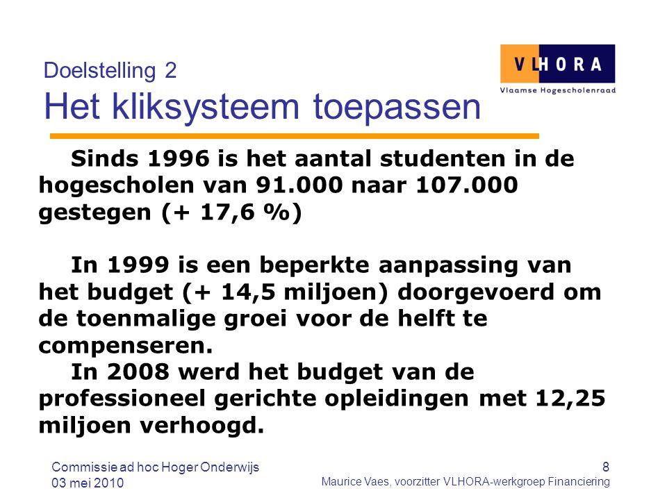 8 Maurice Vaes, voorzitter VLHORA-werkgroep Financiering Doelstelling 2 Het kliksysteem toepassen Sinds 1996 is het aantal studenten in de hogescholen van 91.000 naar 107.000 gestegen (+ 17,6 %) In 1999 is een beperkte aanpassing van het budget (+ 14,5 miljoen) doorgevoerd om de toenmalige groei voor de helft te compenseren.