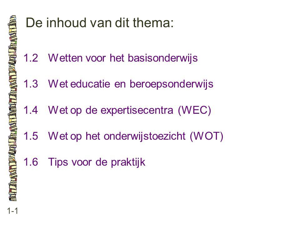 De inhoud van dit thema: 1-1 1.2Wetten voor het basisonderwijs 1.3Wet educatie en beroepsonderwijs 1.4Wet op de expertisecentra (WEC) 1.5Wet op het onderwijstoezicht (WOT) 1.6Tips voor de praktijk