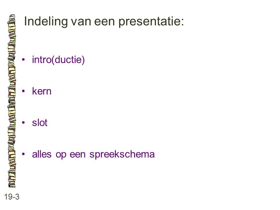 Indeling van een presentatie: 19-3 intro(ductie) kern slot alles op een spreekschema