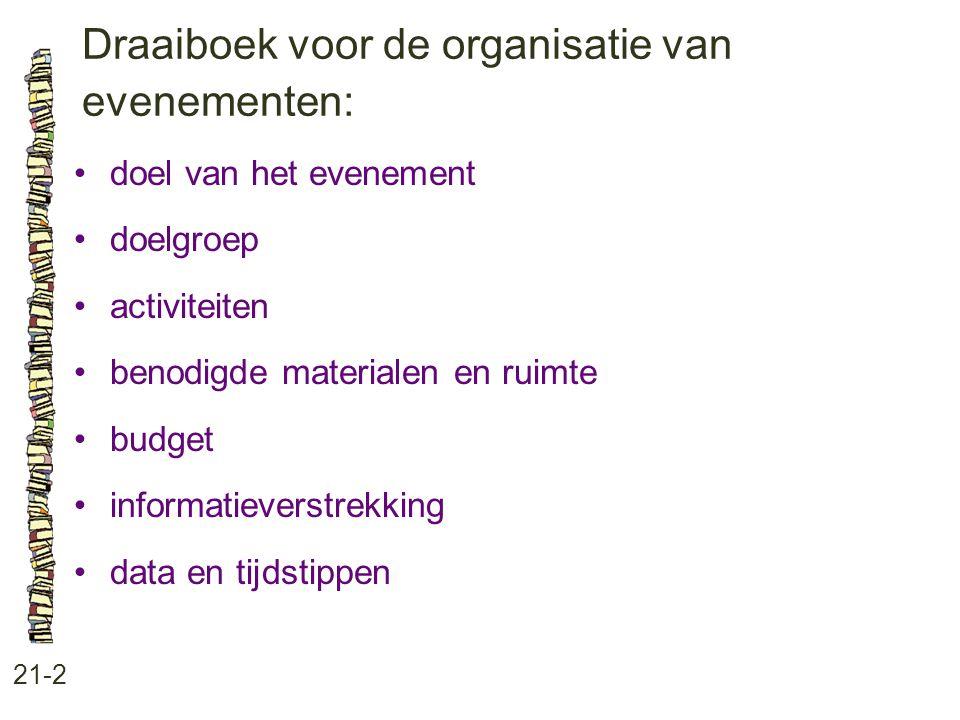 Draaiboek voor de organisatie van evenementen: 21-2 doel van het evenement doelgroep activiteiten benodigde materialen en ruimte budget informatieverstrekking data en tijdstippen