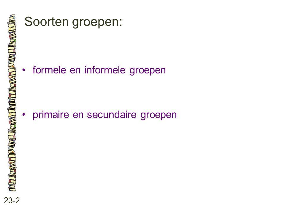 Soorten groepen: 23-2 formele en informele groepen primaire en secundaire groepen