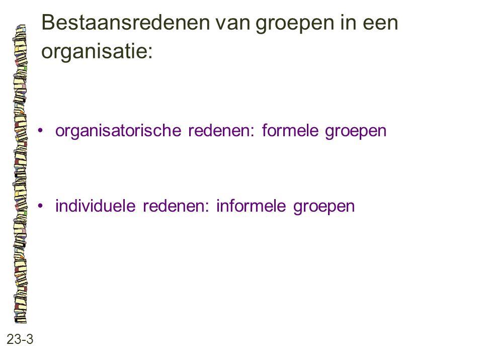 Bestaansredenen van groepen in een organisatie: 23-3 organisatorische redenen: formele groepen individuele redenen: informele groepen