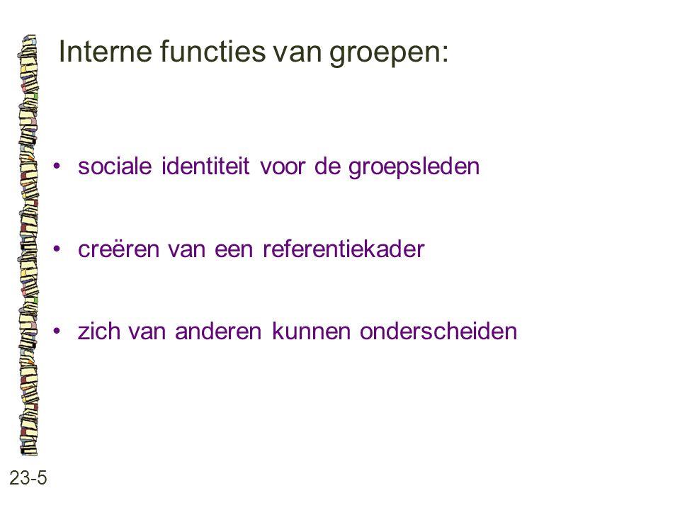 Interne functies van groepen: 23-5 sociale identiteit voor de groepsleden creëren van een referentiekader zich van anderen kunnen onderscheiden