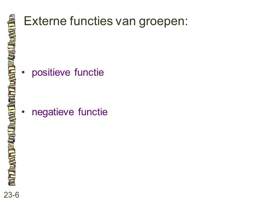 Externe functies van groepen: 23-6 positieve functie negatieve functie