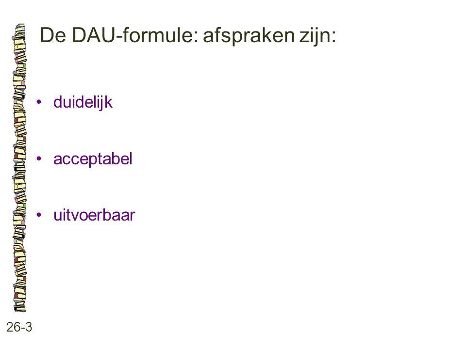 De DAU-formule: afspraken zijn: 26-3 duidelijk acceptabel uitvoerbaar