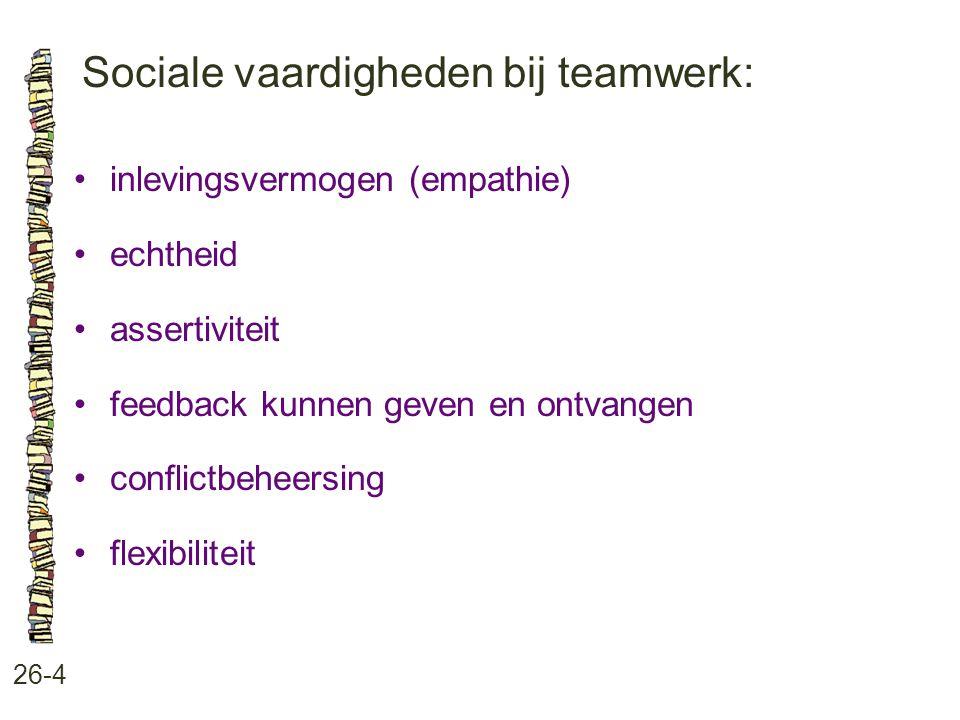 Sociale vaardigheden bij teamwerk: 26-4 inlevingsvermogen (empathie) echtheid assertiviteit feedback kunnen geven en ontvangen conflictbeheersing flexibiliteit