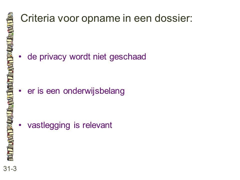 Criteria voor opname in een dossier: 31-3 de privacy wordt niet geschaad er is een onderwijsbelang vastlegging is relevant