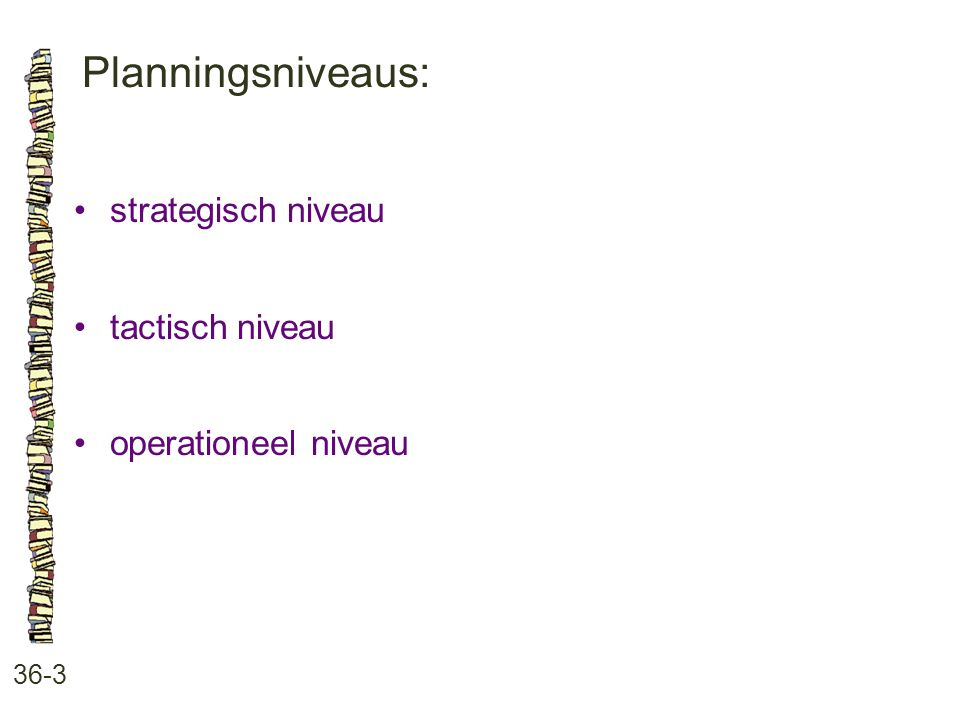 Planningsniveaus: 36-3 strategisch niveau tactisch niveau operationeel niveau