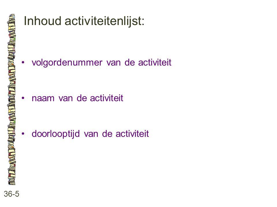 Inhoud activiteitenlijst: 36-5 volgordenummer van de activiteit naam van de activiteit doorlooptijd van de activiteit