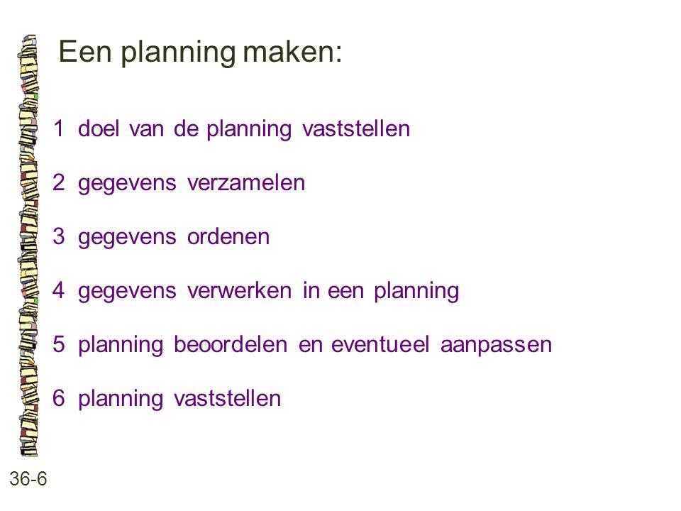 Een planning maken: 36-6 1doel van de planning vaststellen 2gegevens verzamelen 3gegevens ordenen 4gegevens verwerken in een planning 5planning beoordelen en eventueel aanpassen 6planning vaststellen