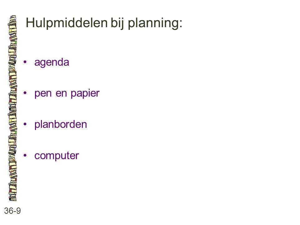 Hulpmiddelen bij planning: 36-9 agenda pen en papier planborden computer