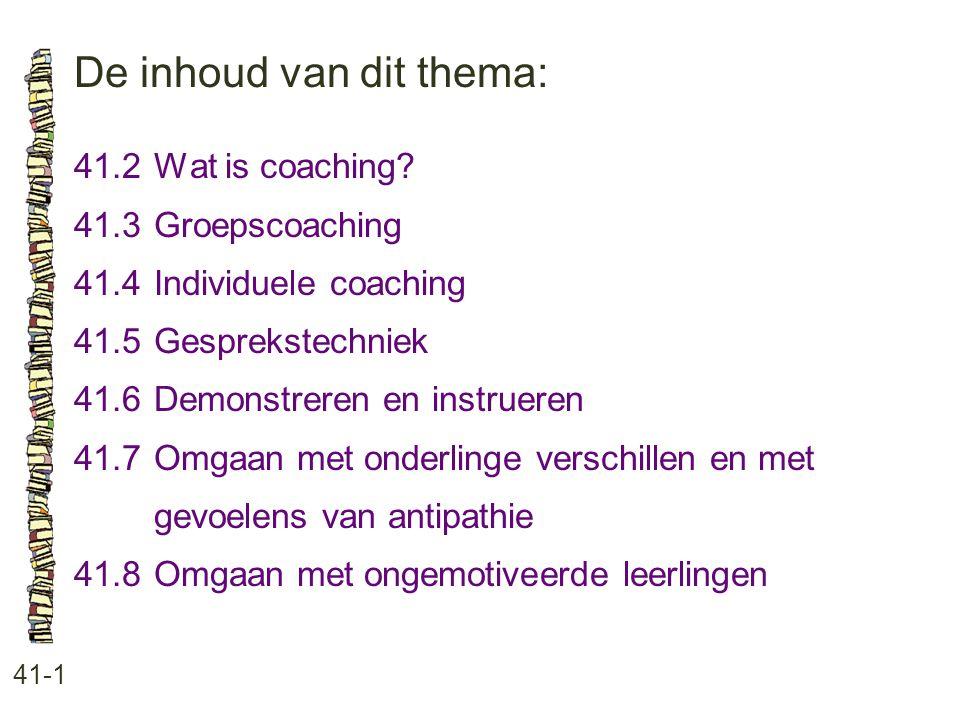 De inhoud van dit thema: 41-1 41.2Wat is coaching.