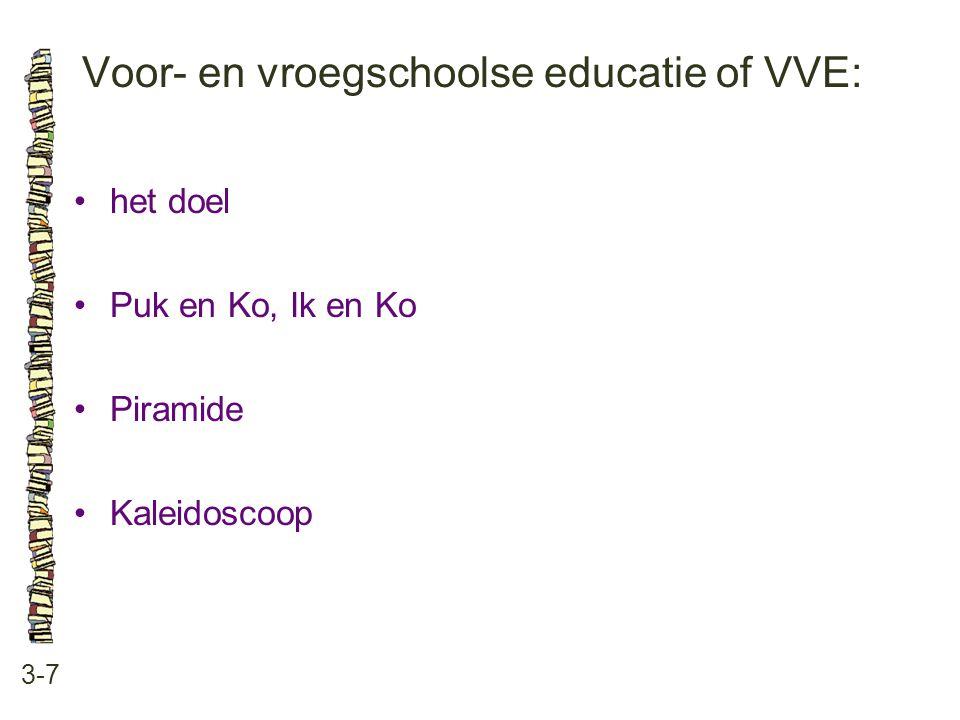 Voor- en vroegschoolse educatie of VVE: 3-7 het doel Puk en Ko, Ik en Ko Piramide Kaleidoscoop