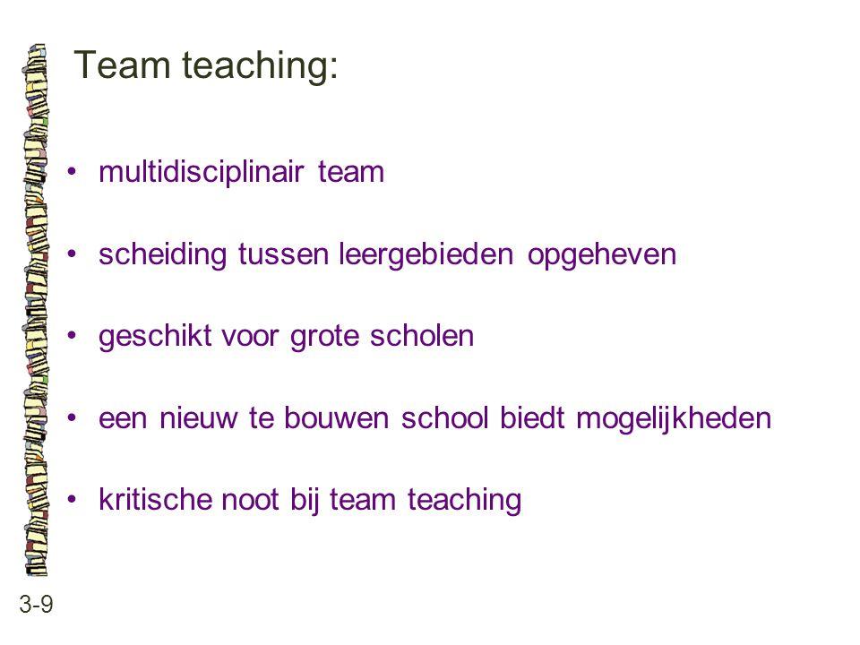 Team teaching: 3-9 multidisciplinair team scheiding tussen leergebieden opgeheven geschikt voor grote scholen een nieuw te bouwen school biedt mogelijkheden kritische noot bij team teaching