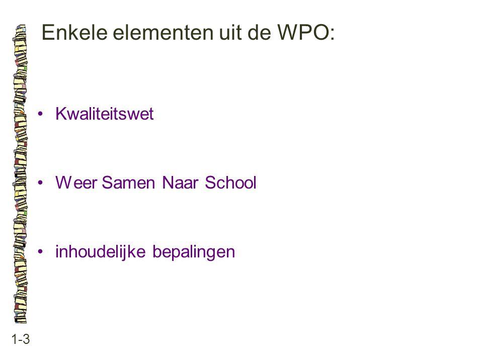Enkele elementen uit de WPO: 1-3 Kwaliteitswet Weer Samen Naar School inhoudelijke bepalingen