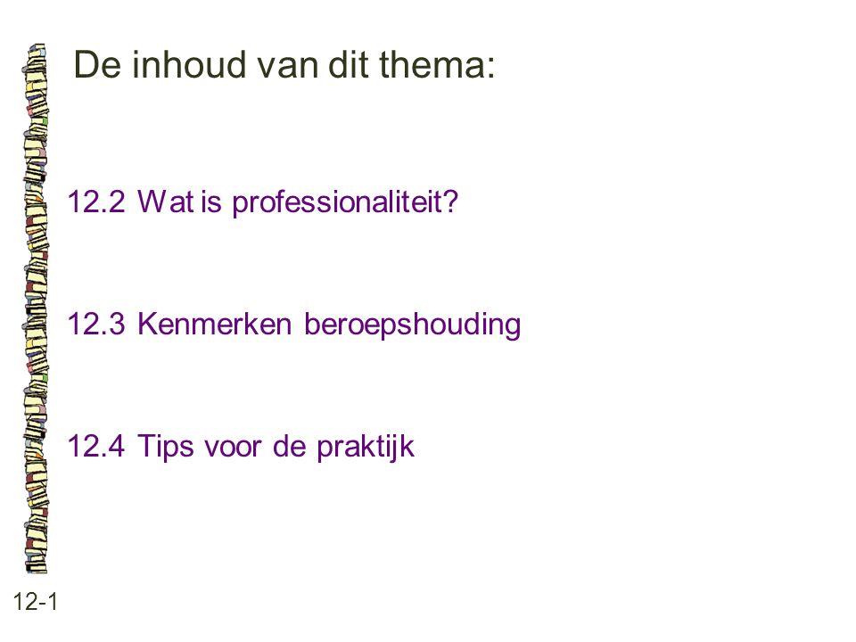 De inhoud van dit thema: 12-1 12.2Wat is professionaliteit.