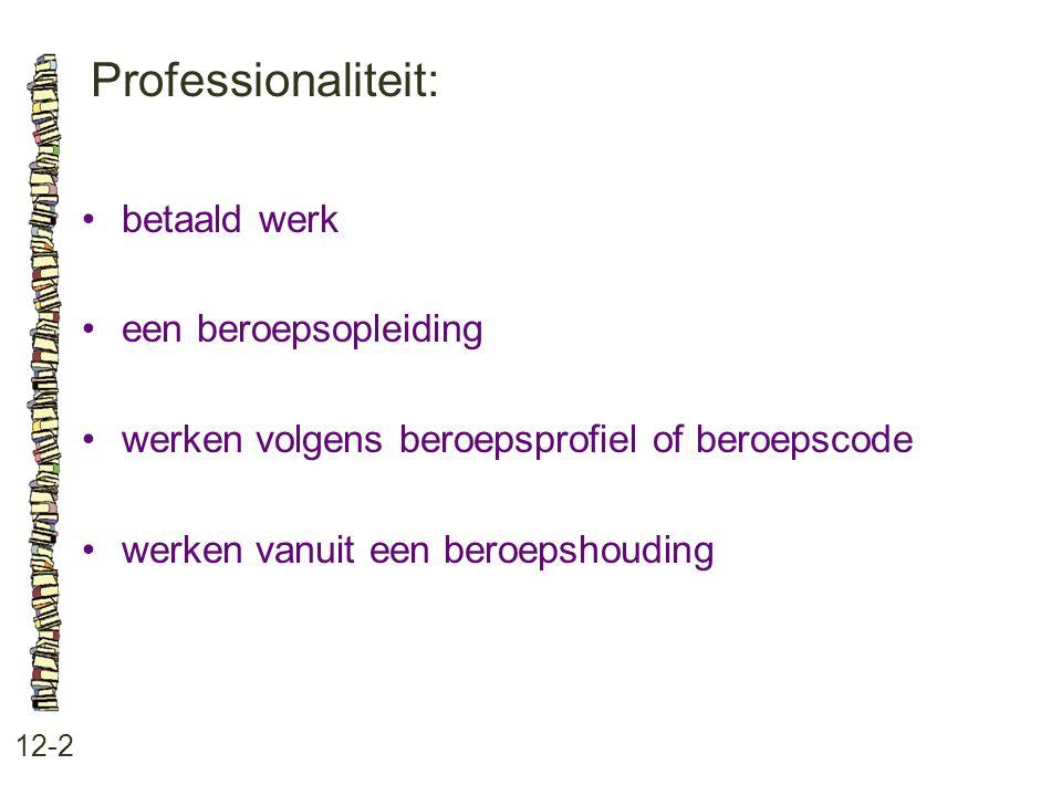 Professionaliteit: 12-2 betaald werk een beroepsopleiding werken volgens beroepsprofiel of beroepscode werken vanuit een beroepshouding