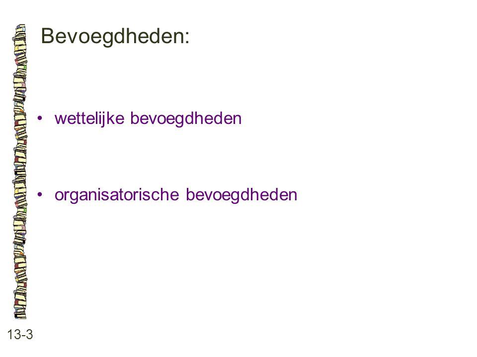 Bevoegdheden: 13-3 wettelijke bevoegdheden organisatorische bevoegdheden