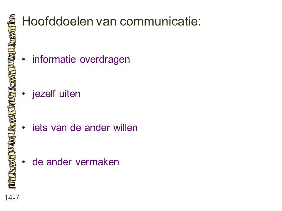 Hoofddoelen van communicatie: 14-7 informatie overdragen jezelf uiten iets van de ander willen de ander vermaken