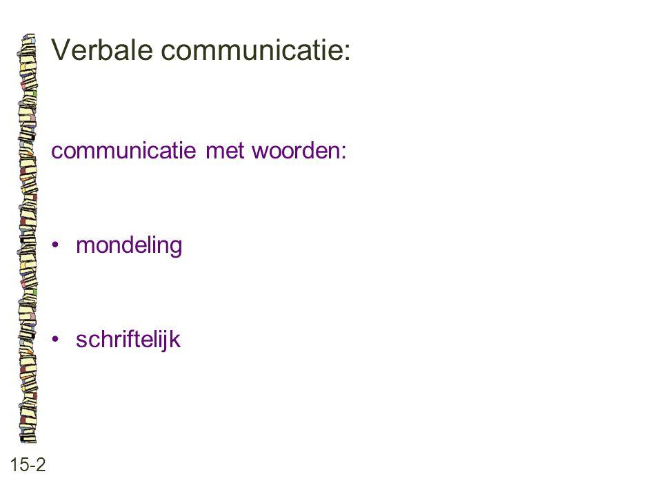 Verbale communicatie: 15-2 communicatie met woorden: mondeling schriftelijk