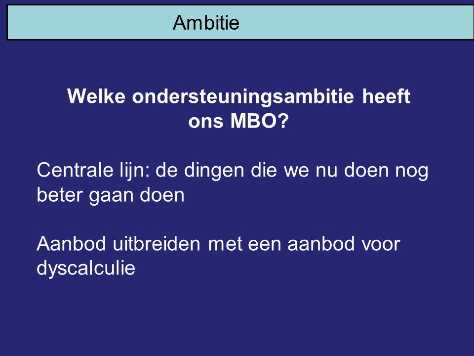 Ambitie Welke ondersteuningsambitie heeft ons MBO? Centrale lijn: de dingen die we nu doen nog beter gaan doen Aanbod uitbreiden met een aanbod voor d