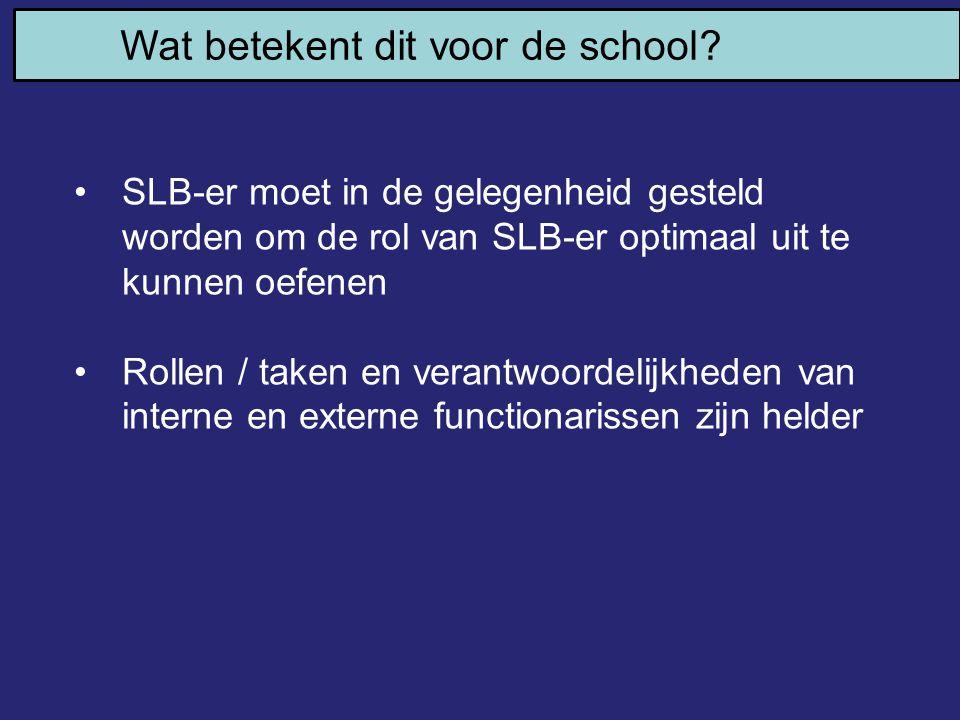 Wat betekent dit voor de school? SLB-er moet in de gelegenheid gesteld worden om de rol van SLB-er optimaal uit te kunnen oefenen Rollen / taken en ve