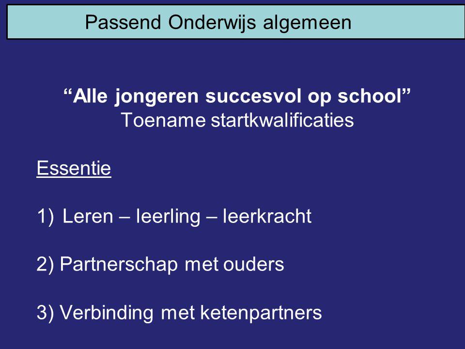 """""""Alle jongeren succesvol op school"""" Toename startkwalificaties Essentie 1)Leren – leerling – leerkracht 2) Partnerschap met ouders 3) Verbinding met k"""