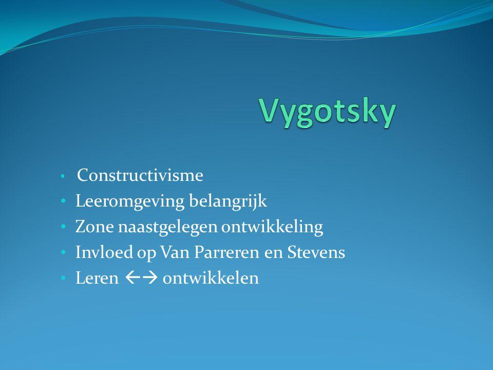 Constructivisme Leeromgeving belangrijk Zone naastgelegen ontwikkeling Invloed op Van Parreren en Stevens Leren  ontwikkelen