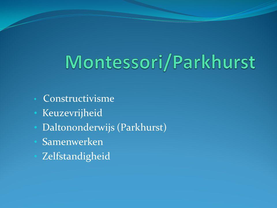 Constructivisme Keuzevrijheid Daltononderwijs (Parkhurst) Samenwerken Zelfstandigheid