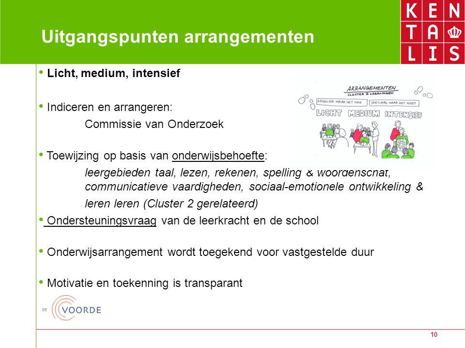 10 Uitgangspunten arrangementen Licht, medium, intensief Indiceren en arrangeren: Commissie van Onderzoek Toewijzing op basis van onderwijsbehoefte: l